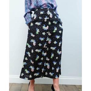 Angie Dotty Fleur Skirt Black/Multi