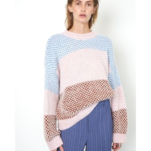 Berthe Block Stripe O/Nk Knit Light Mahogany/Multi