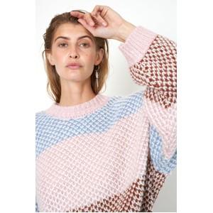Second Female Berthe Block Stripe O/Nk Knit Light Mahogany/Multi