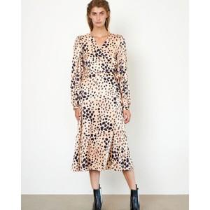 Second Female Amur L/S Leopard Wrap Dress Cement