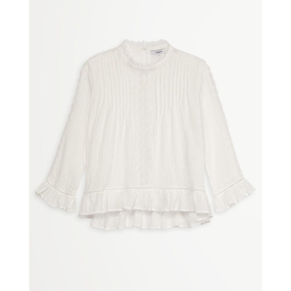 Suncoo Lola Pintuck/Lace Blouse Off White