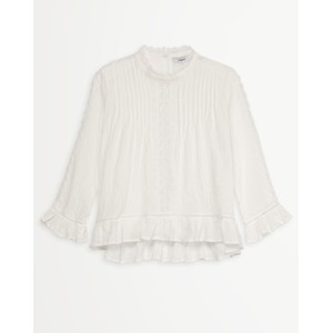 Lola Pintuck/Lace Blouse Off White
