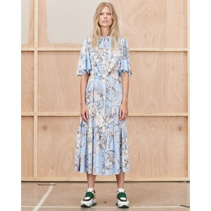 Tanta Floral Silky Dress Ice Blue/Off White