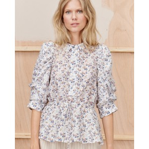 Tassel Puff Slv Floral Blouse Ivory/Blue/Brown