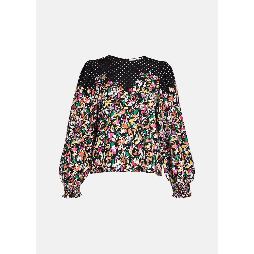 Essentiel Antwerp Zucculent Dot/Floral Print Top Black/White/Multi