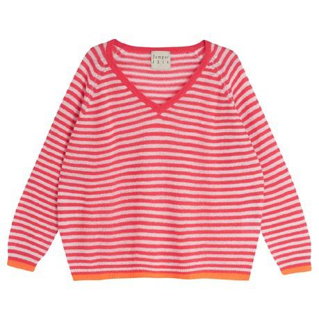 Jumper 1234 Little Stripe V/N Jumper Crimson/Plaster/Neon Orange