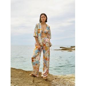 Sfizio Floral Side Tie Silk Blouse Pastel Multi