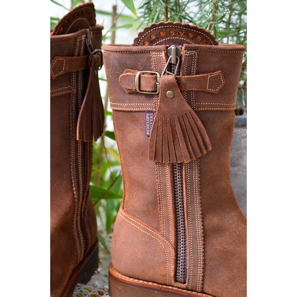 Penelope Chilvers Tassel Gaucho Mid Calf Boots Nut
