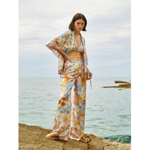 Sfizio Floral Wide Leg Silk Trouser Pastel Multi