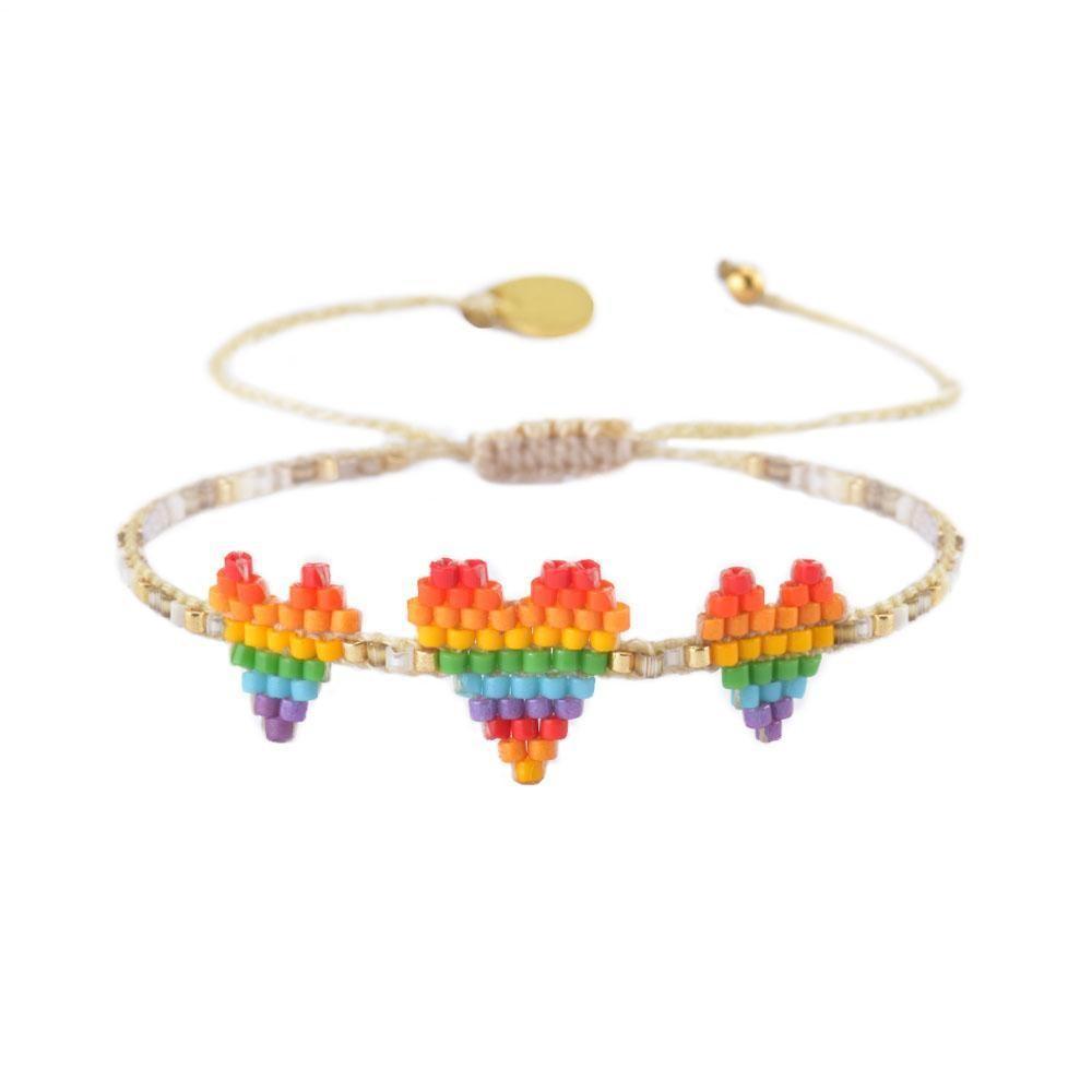 Mishky Triple Hearts Row Bracelet White/Multi