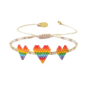Triple Hearts Row Bracelet White/Multi