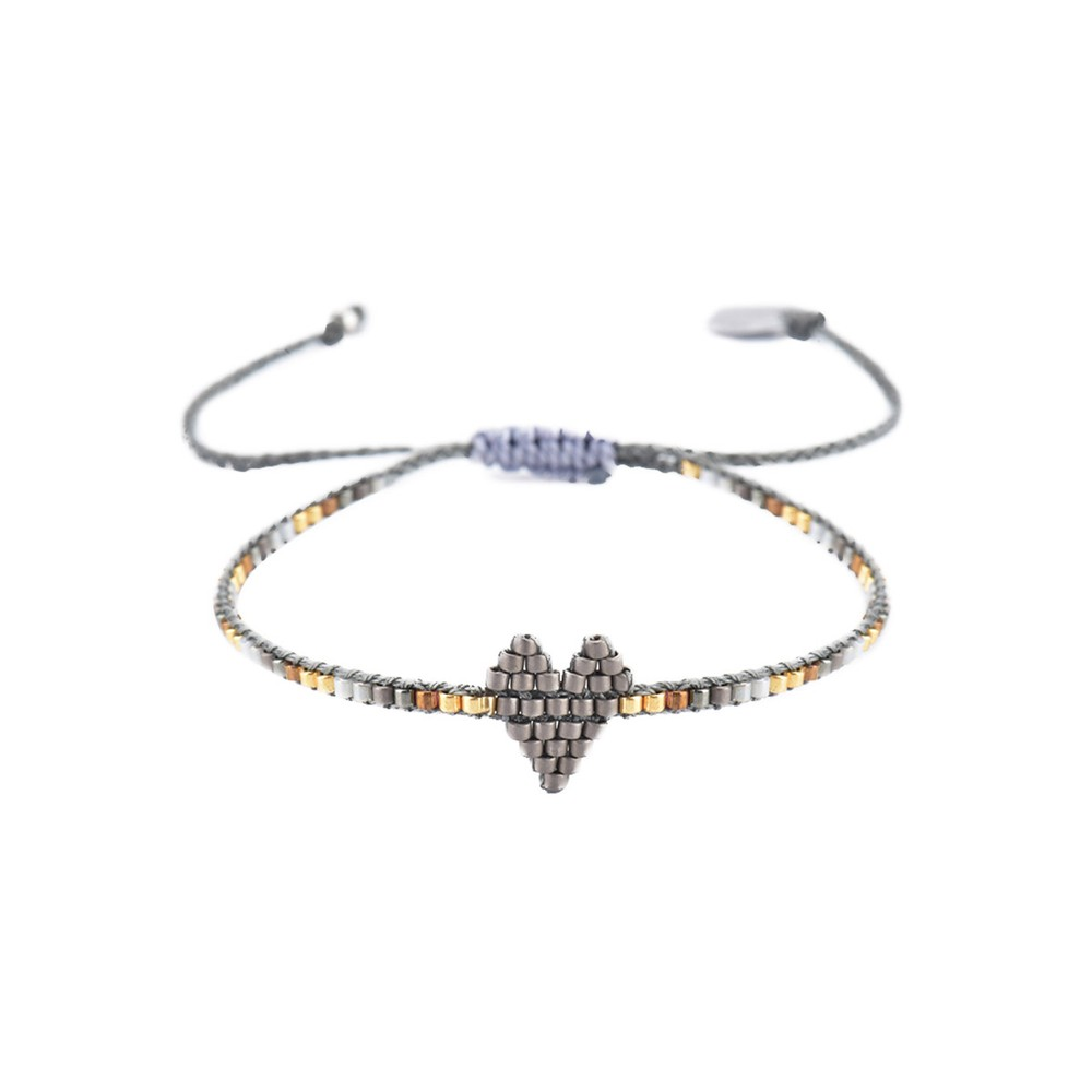 Mishky Heartsy Row Bracelet Dark Grey