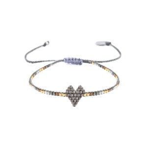 Heartsy Row Bracelet Dark Grey