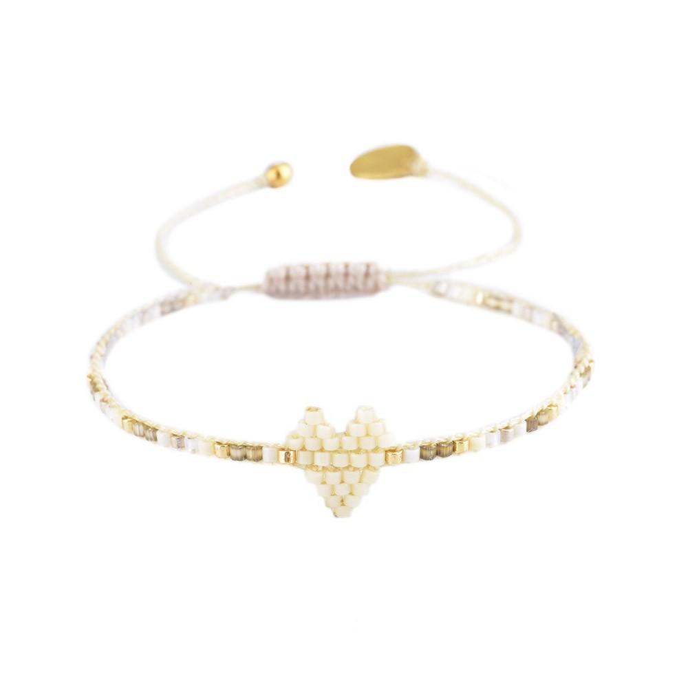Mishky Heartsy Row Bracelet Cream