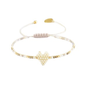 Heartsy Row Bracelet Cream