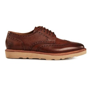 Monogram Wedge Brogue-Leather Mid Brown