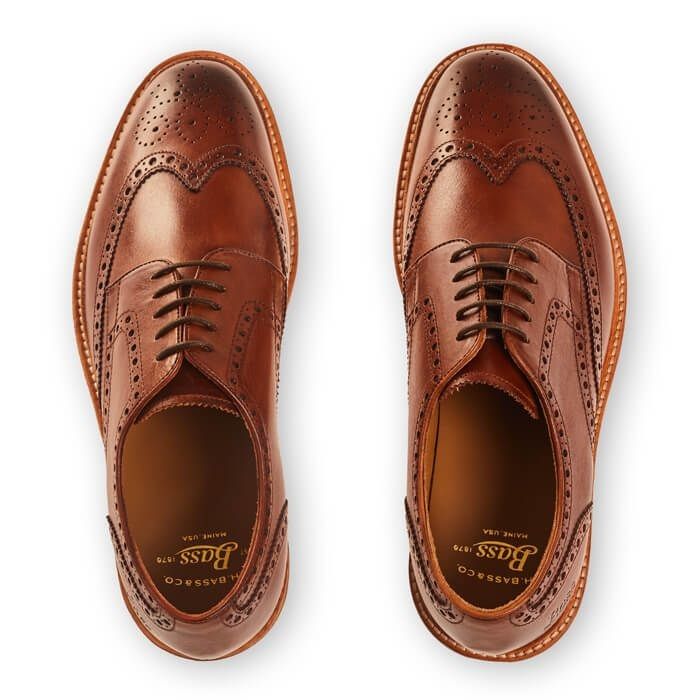 G.H.Bass & Co. Monogram Wedge Brogue-Leather Mid Brown