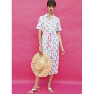 Eveline Pineapple Dress White/Blue