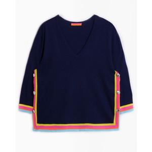 Vilagallo Lavinia V/N Stripe Trim Knit Navy/Multi