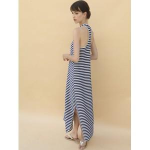 Tiny Lurex Stripe Long Dress Silver/Navy