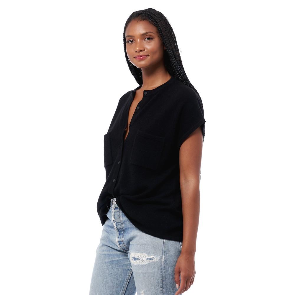 360 Sweater Arden S/S 2 Pkt Box Top Black