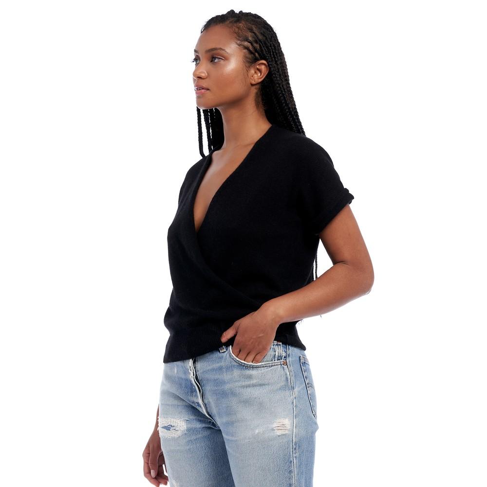 360 Sweater Audrina S/S Wrap Top Black