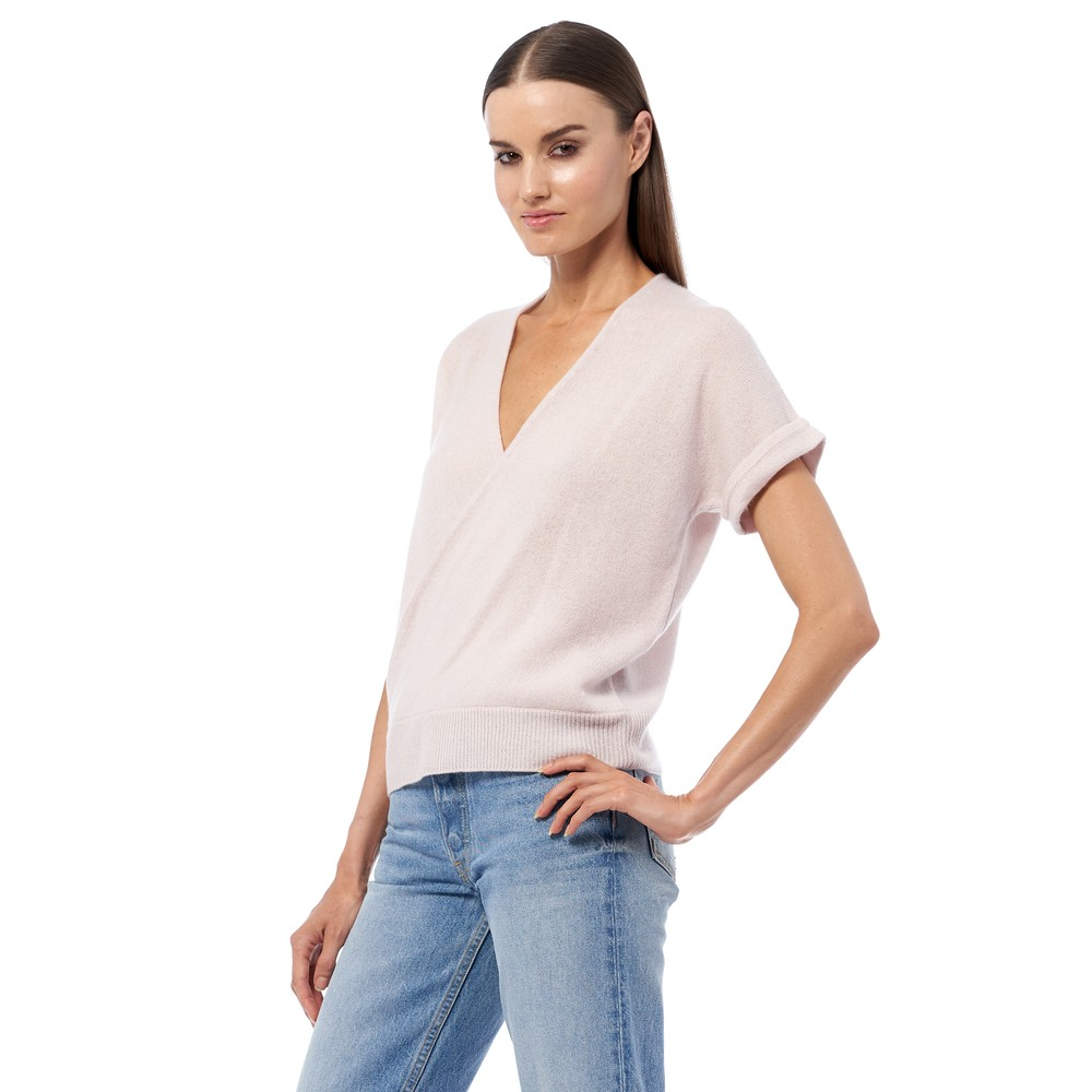 360 Sweater Audrina S/S Wrap Top Bisque