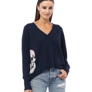 Alloy V/Nk Side Skull Sweater Navy/Multi