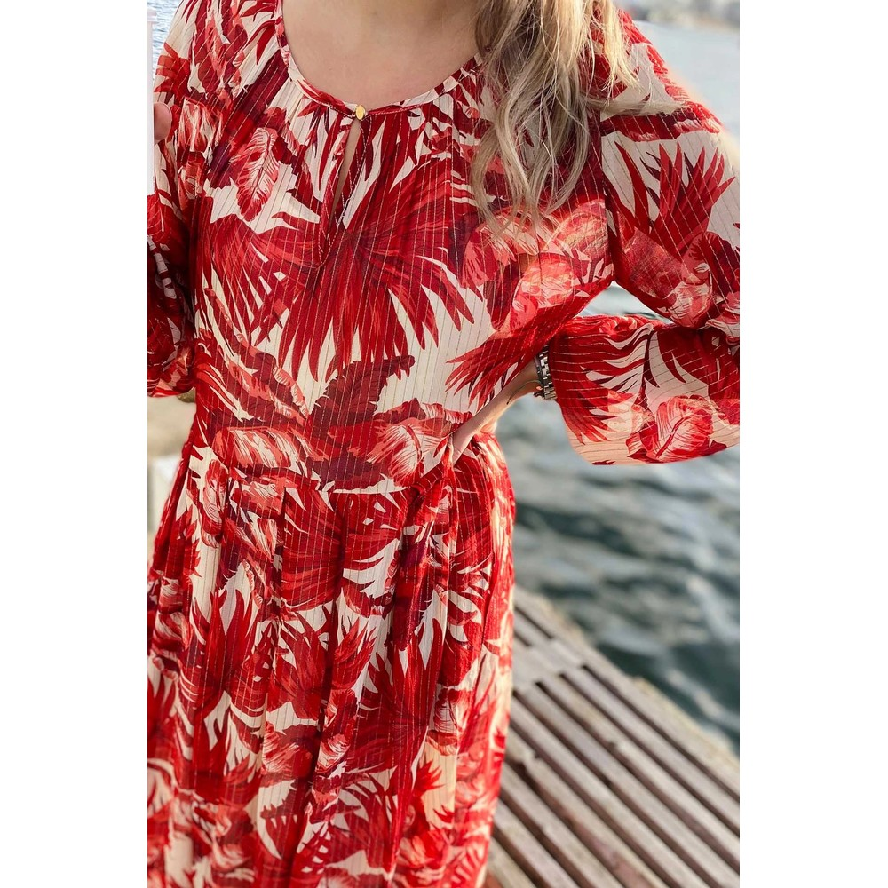 Lollys Laundry Luciana L/S Floral Dress Red/Off White
