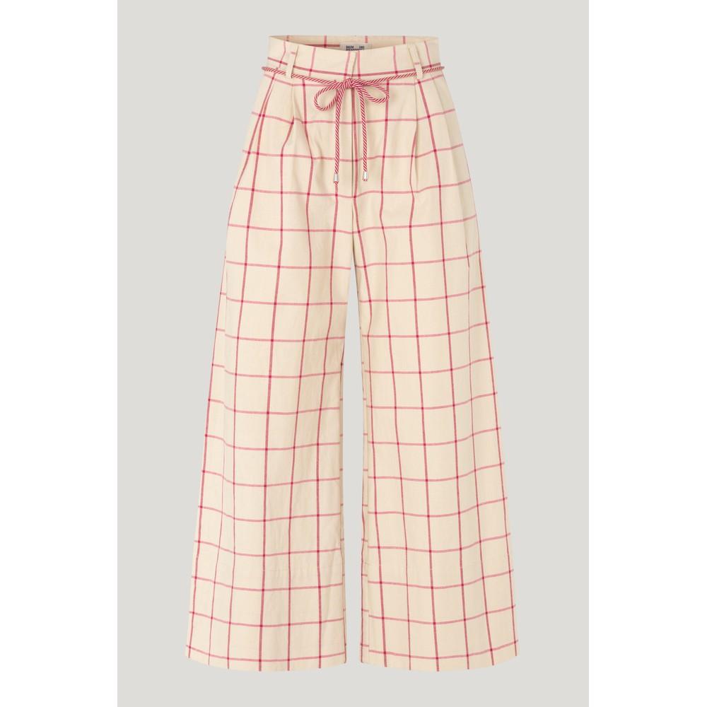 Baum Und Pferdgarten Nour Tie Waist Wide Leg Trs Oyster Grey Pink Check