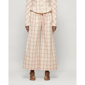 Baum Und Pferdgarten Nour Tie Waist Wide Leg Trs in Oyster Grey Pink Check