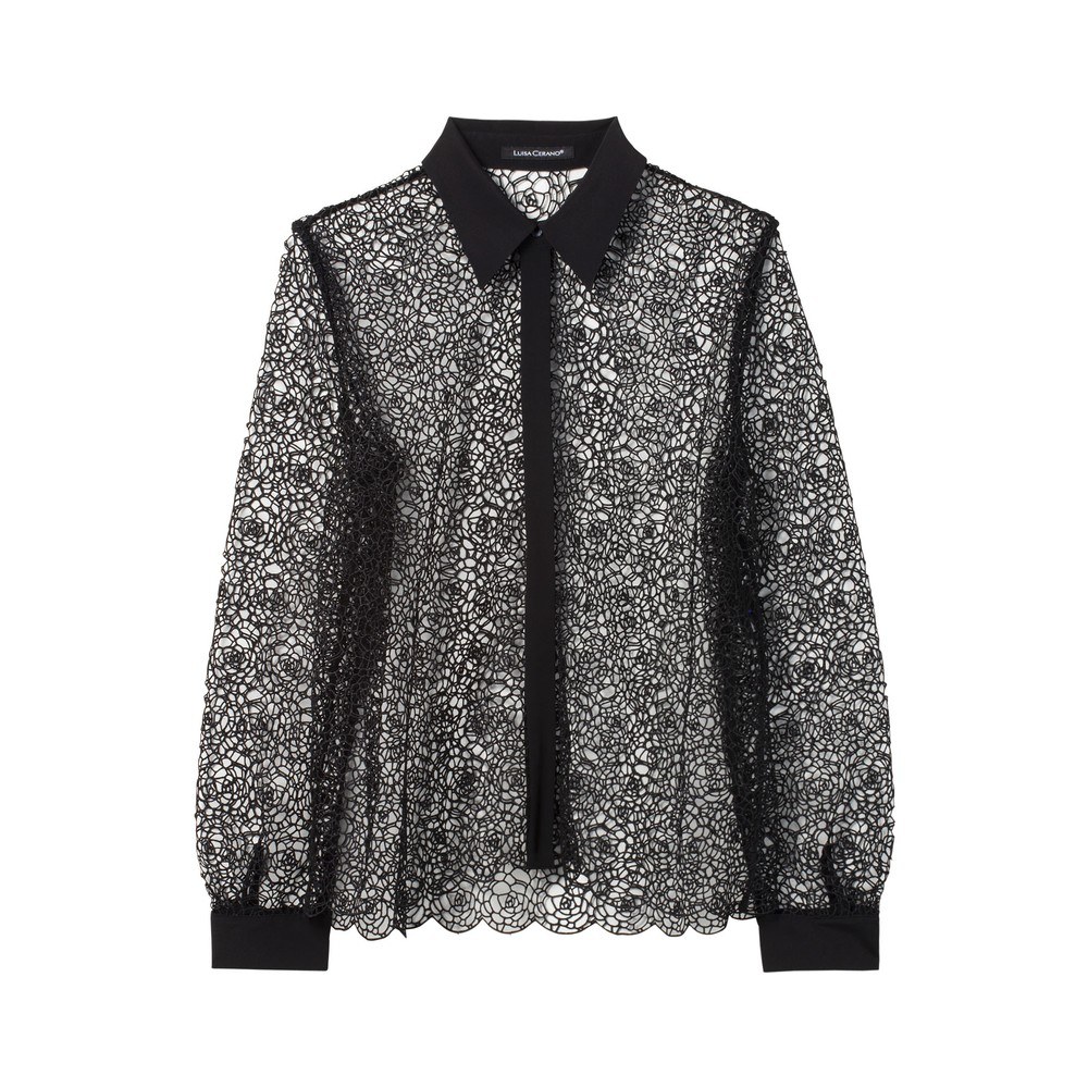 Luisa Cerano Lace Shirt With Silk Trims Black