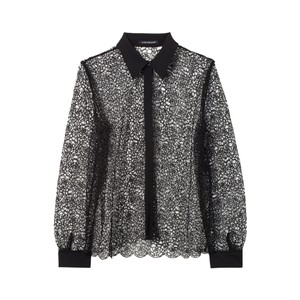 Lace Shirt With Silk Trims Black