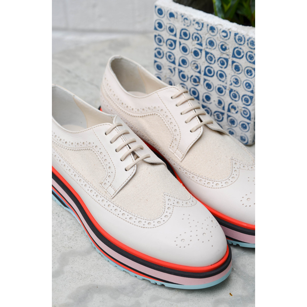 Paul Smith Shoes Grand Stripe Leather Brogue Off White/Multi
