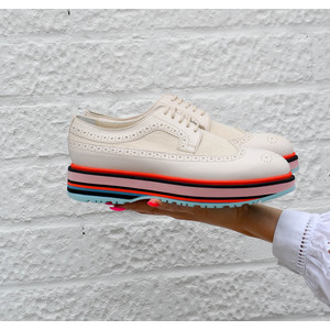 Grand Stripe Leather Brogue Off White/Multi