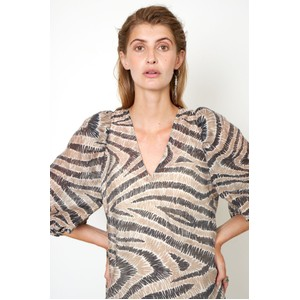 Second Female Lilly Patterned Puff Slv Drs Humus/Black