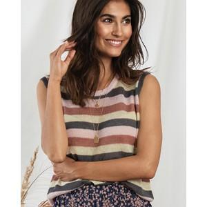 Boho Stripe Fine Knit Vest Mauve/Multi
