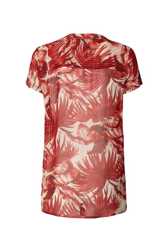 Lollys Laundry Heather S/S Floral Sheer Top Red/Off White