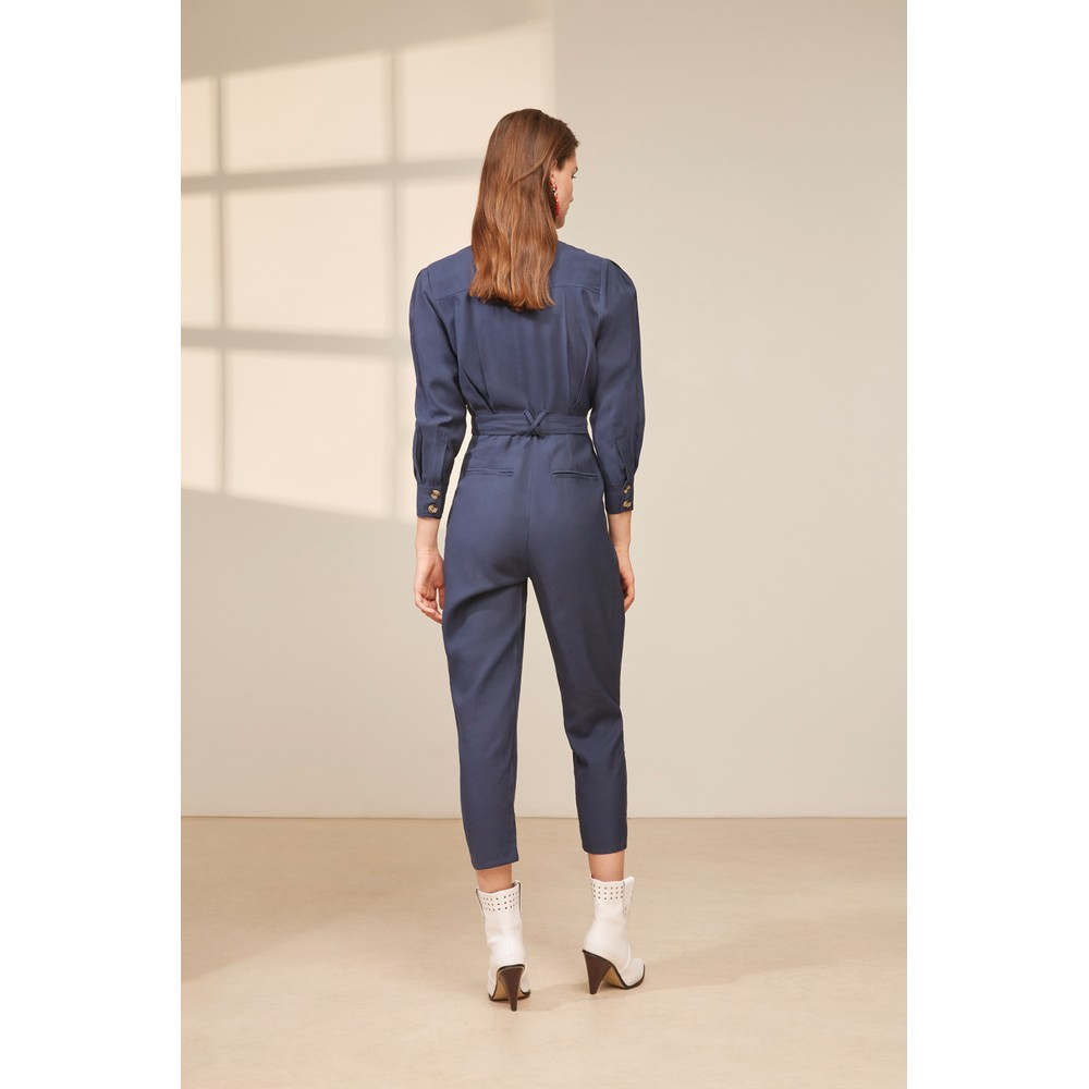 Suncoo Tunis Belted Jumpsuit Navy