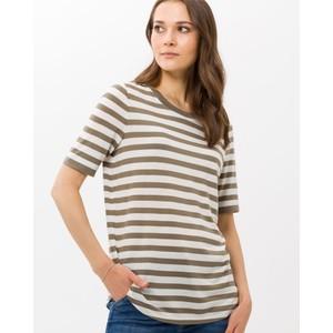 Collette Stripe T Shirt Mushroom/Off White