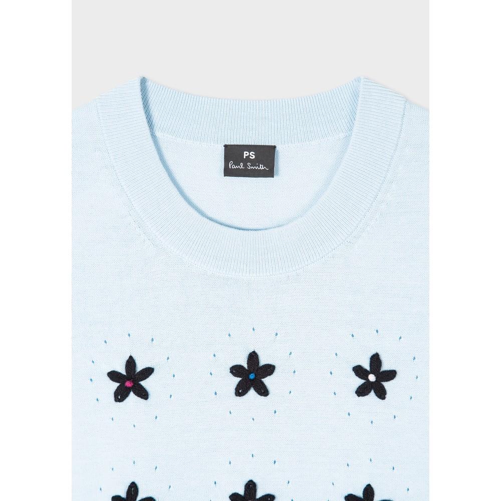 Paul Smith Womens Emb Flower Knitted Vest Light Blue/Black