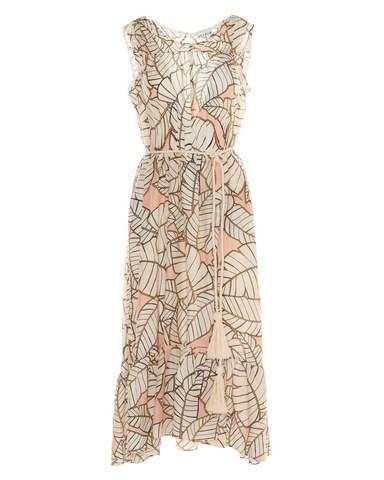 Sfizio S/L Large Leaves Long Dress Cream/Peach