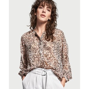 Riani Print/Lurex 1/2 Button Blouse Steel Patterned