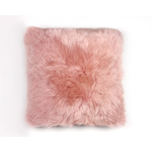 Fibre Sheepskin Cushion - Square in Dark Rose