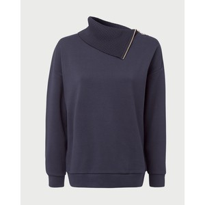 Side Zip/Roll Nk Sweatshirt Deep Blue
