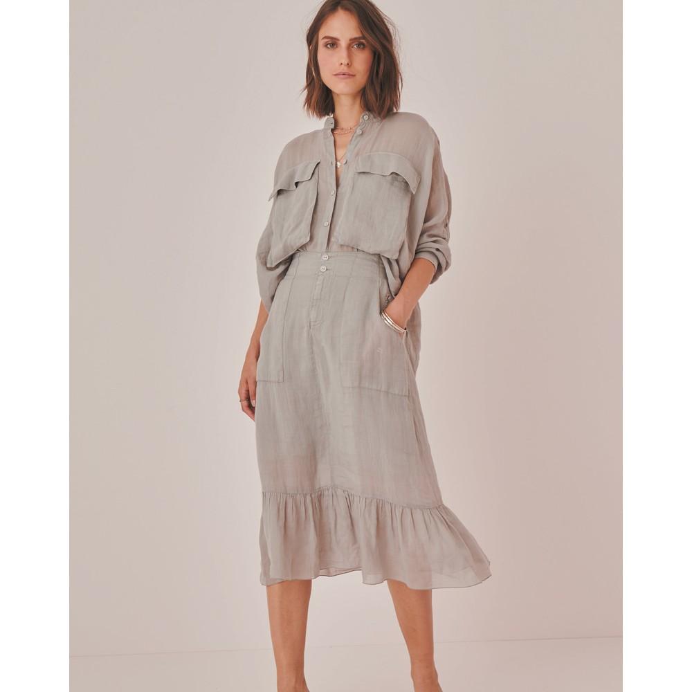 European Culture Deep Pkt Midi Skirt Dove Grey