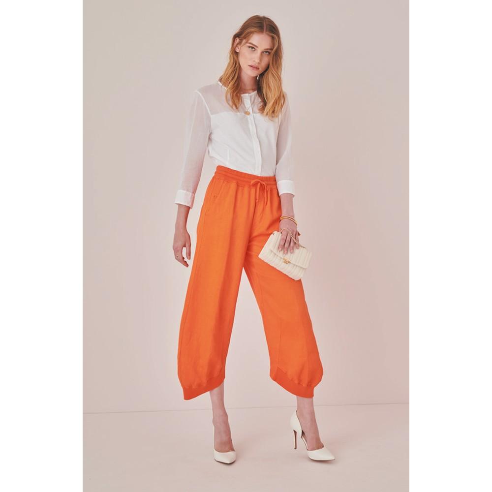 European Culture Loose Fit Trousers Orange