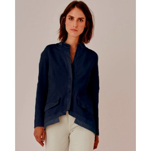 Contrast Trim Tails Jacket Navy