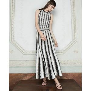 D Exterior Wavy Stripe Lurex Knit Skirt Gold/Silver/Black/White