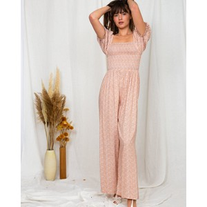 Poppy Field The Label Natalia Smocked Jumpsuit Liberty Pink